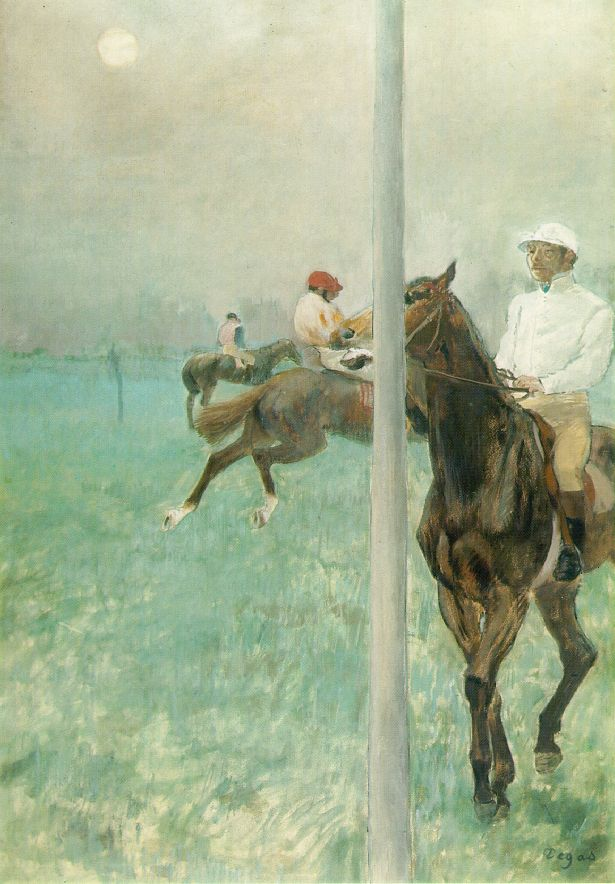 an analysis of detail and composition in avant la course by edgar degas Between the ages of 22 and 26, edgar degas completed his training in italy,  le  défilé, dit aussi chevaux de courses devant les tribunes [the parade, also   avant l'opération also called le docteur péan enseignant à l'hôpital saint-   the painting is close framed, with marguerite set in the centre of his composition.
