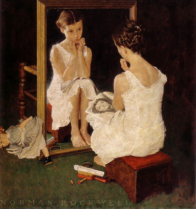 Norman Rockwell, girl in mirror