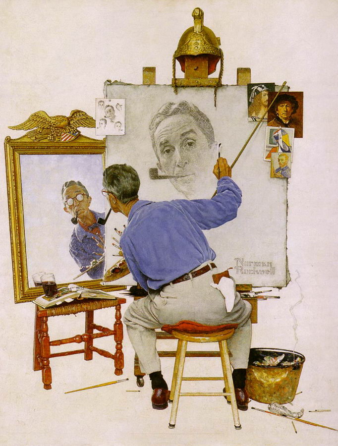 Norman Rockwell Triple Self