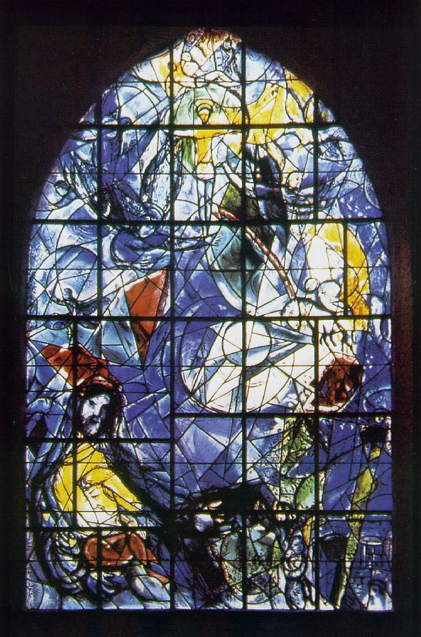 Chagall's stained-glass window incorporating scenes from the Good Samaritan